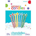 Multi Colored Spiral Birthday Candles with Stars 2in 8ct