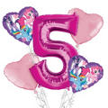 My Little Pony 5th Birthday Balloon Bouquet 5pc
