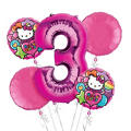 Rainbow Hello Kitty 3rd Birthday Balloon Bouquet 5pc