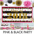 Pink & Black Graduation Decorations