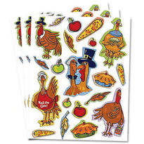 Turkey Glitter Stickers 3 Sheets