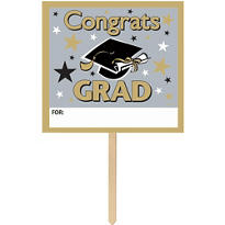 Personalized Golden Grad Graduation Yard Sign 14in x 15in
