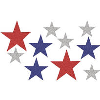 Red, White & Blue Assorted Glitter Star Cutouts 10ct