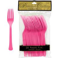 Bright Pink Premium Plastic Forks 20ct