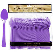 Purple Premium Plastic Spoons 48ct