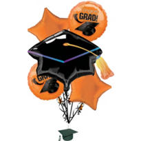 Foil Orange Graduation Balloon Bouquet 5pc