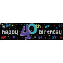 The Party Continues 40th Metallic Giant Sign Banner 65in x 20in