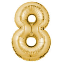Number 8 Metallic Gold Foil Balloon 34in