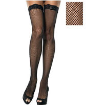 Adult Black Fishnet Thigh High Stockings with Lace Top