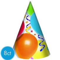 Party Hats 8ct - Balloons & Stars