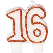 Number 16 Red Glitter Birthday Candle 3in