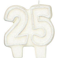 Number 25 Silver Glitter Candle 3in