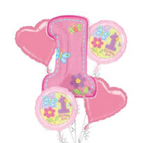 Hugs & Stitches Girl's 1st Birthday Balloon Bouquet 5pc