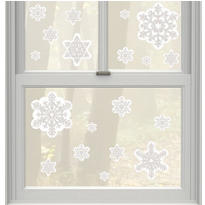 Glitter Snowflake Vinyl Window Decorations 19ct
