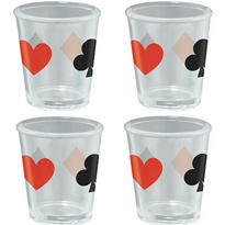 Card Suit Shot Glass Set 4ct
