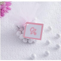 Pink Pacifier Baby Shower Favor Tags 12ct