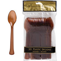 Chocolate Brown Premium Plastic Spoons 20ct