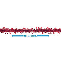 Red Heart Tinsel Garland 25ft