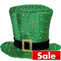 Top Hat with Gold Shamrocks