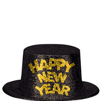 Gold and Black Glitter New Years Top Hat 5in