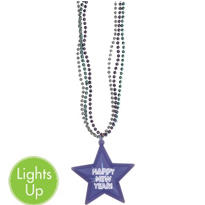 Light-Up Happy New Year Star Necklace 21in
