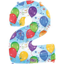 Number 2 Celebration Foil Balloon 34in