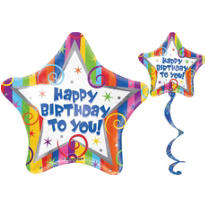 Happy Birthday Streamers Coil Tail Balloon 32in