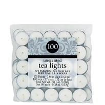 Unscented White Tealights 100ct