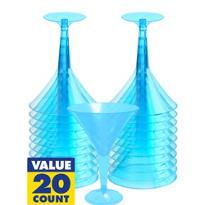 Transparent Blue Plastic Martini Glasses 20ct