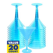 Transparent Blue Plastic Martini Glasses 20ct