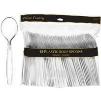 CLEAR Premium Plastic Soup Spoons 48ct