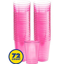Transparent Pink Plastic Tumblers 72ct