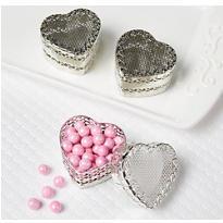 Silver Heart Wedding Favor Boxes 6ct