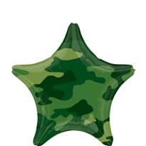 Camouflage Birthday Balloon - Star