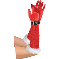 Red Satin Miss Santa Gloves