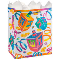 Watercolor Dreidel Medium Hanukkah Gift Bag 9 1/2in x 8in