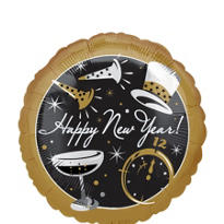 Foil Black Tie New Years Balloon 18in