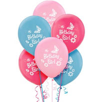 Latex Garden Girl Birthday Balloons 12in 6ct