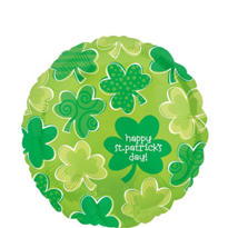Foil Playful Shamrocks St. Patricks Day Balloon 18in