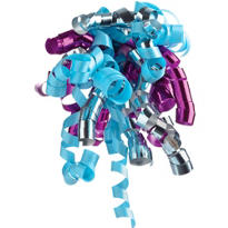 Silver/Magenta/Aqua Curly Bow