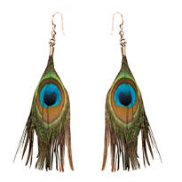 Peacock Earrings with Turquoise Feather