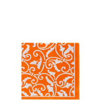 Orange Ornamental Scroll Beverage Napkins 16ct