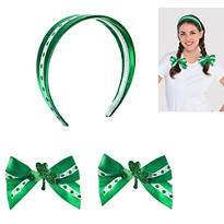 St. Patricks Day Clover Hair Accessory Set 3pc