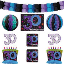 The Party Continues 30th Birthday Room Decorating Kit 10pc