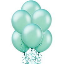 Aqua Pearlized Latex Balloons 12in 72ct