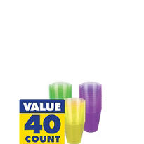 Mardi Gras Plastic Shot Glasses 2oz 40ct