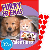 Furry Friends Value Valentines Day Cards with Stickers 32ct