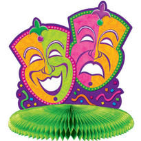 Mini Honeycomb Mardi Gras Centerpiece 5in