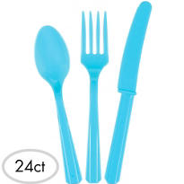 Caribbean Blue Cutlery Set 24ct