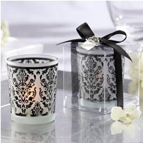 Damask Traditions Frosted Glass Tea Light Holder Wedding Favor